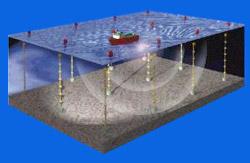 Seismic Vessel Performing a 4-C Seismic Survey